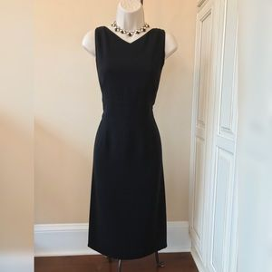 Talbots Sleeveless Black Midi Sheath Dress - 8